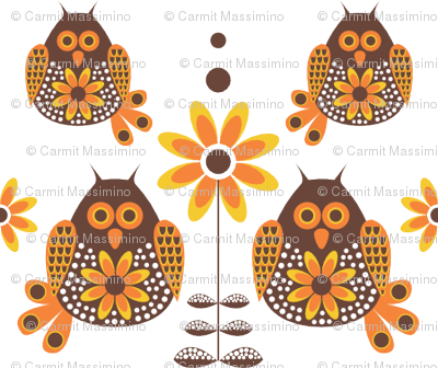 Retro Owls Brown