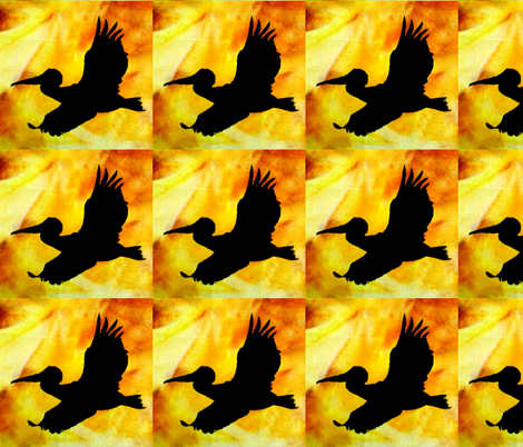 Pelican at Sunset by Sylvie fabric by art_on_fabric on Spoonflower - custom fabric
