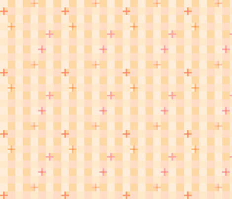 peach checks 4 fabric by mojiarts on Spoonflower - custom fabric