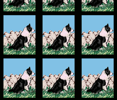 Border Collie and Sheep fabric fabric by dogdaze_ on Spoonflower - custom fabric