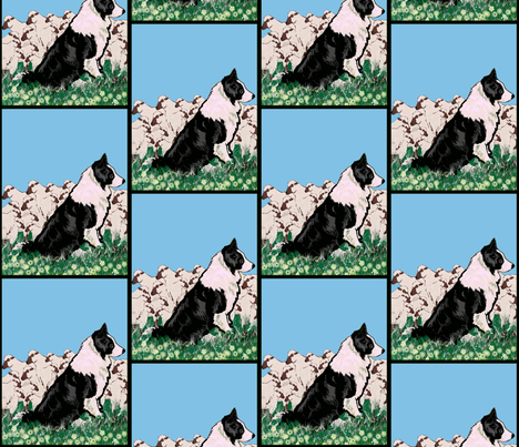 Border Collie and Sheep fabric