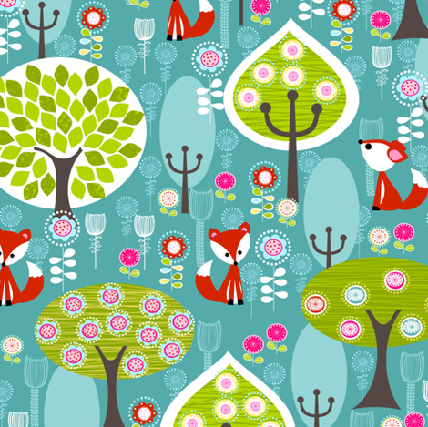 Fox Forest Blue fabric by natitys on Spoonflower - custom fabric