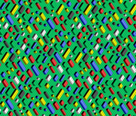 Many bricks on green fabric by spacefem on Spoonflower - custom fabric