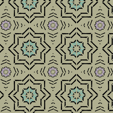 Morocca Block Print (Moss) fabric by david_kent_collections on Spoonflower - custom fabric