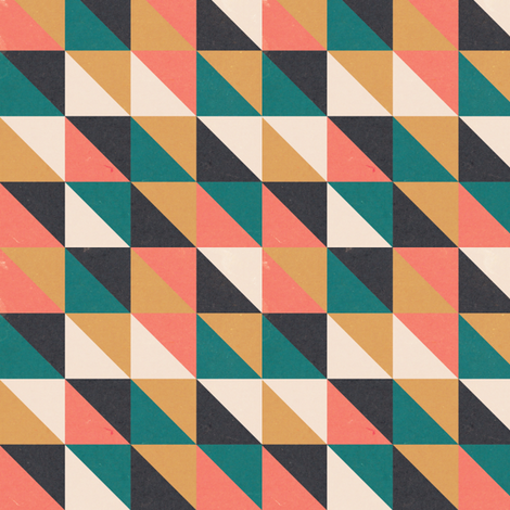 Retro-Mod Triangles: Teal, Coral, Marigold, Cream, Black fabric by frontdoor on Spoonflower - custom fabric