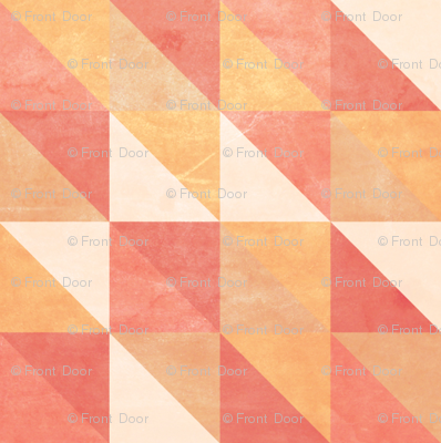 Retro-Mod Triangles: Coral, Cream, Tan, Marigold, Red