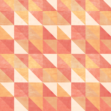 Retro-Mod Triangles: Coral, Cream, Tan, Marigold, Red fabric by frontdoor on Spoonflower - custom fabric