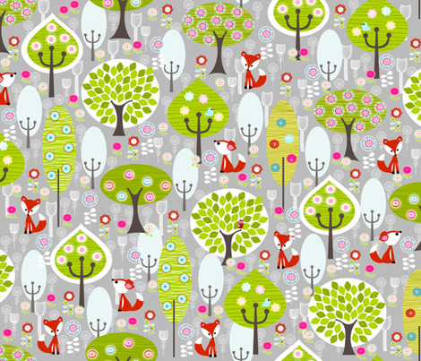 Fox Forest Grey fabric by natitys on Spoonflower - custom fabric