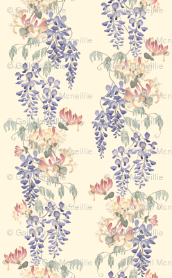 Wisteria & Honeysuckle - pale on cream