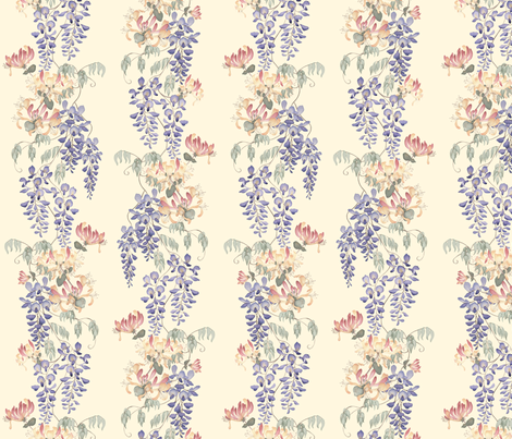 Wisteria & Honeysuckle - pale on cream fabric by gail_mcneillie on Spoonflower - custom fabric