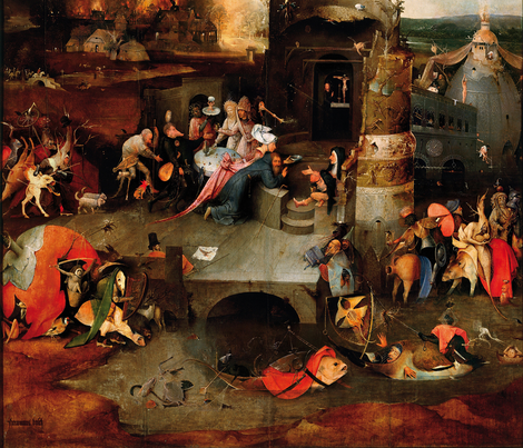 The Temptation of St Anthony by Hieronymus Bosch - Center Panel fabric by zephyrus_books on Spoonflower - custom fabric