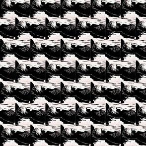 otter linocut black