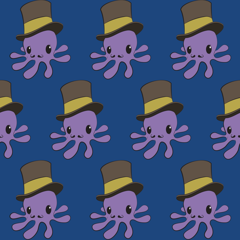 Mr Octopus - blue bg fabric by crowlands on Spoonflower - custom fabric
