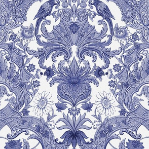 Parrot Damask ~ Blue and White