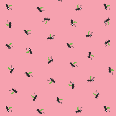 Ant on Pink fabric by halfpinthome on Spoonflower - custom fabric