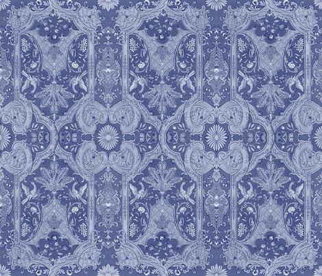 Phoenix Damask ~ Blue & White fabric by peacoquettedesigns on Spoonflower - custom fabric