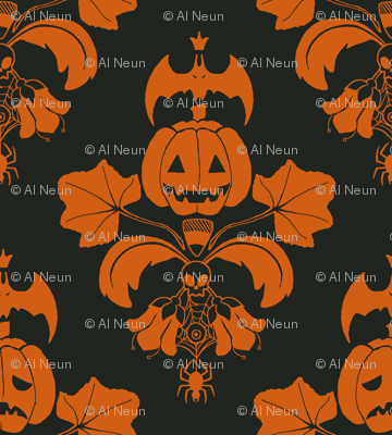 Jack O Lantern Damask Black/Orange