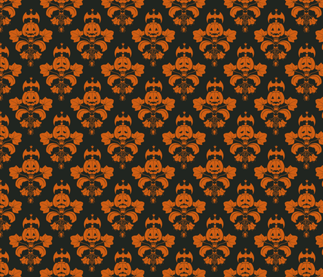 Jack O Lantern Damask Black/Orange fabric by pi-ratical on Spoonflower - custom fabric