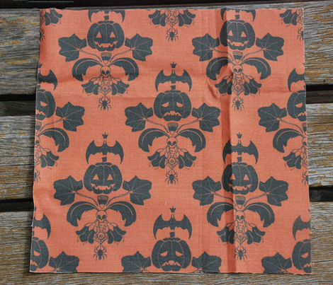 Jack O Lantern Damask Orange/Black