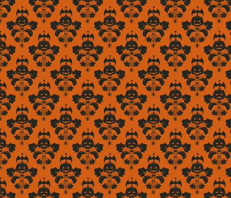 Jack O Lantern Damask Orange/Black fabric by pi-ratical on Spoonflower - custom fabric