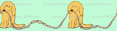 PennyDog Illustration - Sausage Dogs in Aqua