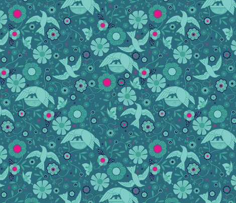 Deco Fashionista- Jardin in Blue fabric by cynthiafrenette on Spoonflower - custom fabric