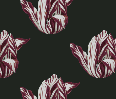 Midnight Tulips in burgundy fabric by domesticate on Spoonflower - custom fabric