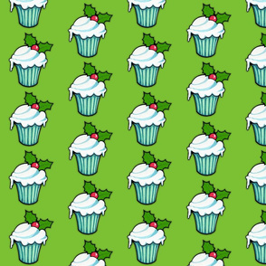 Christmas Holly Cupcake on Green