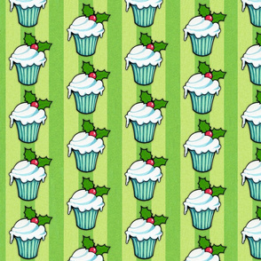 Christmas Holly Cupcake on Green Stripes