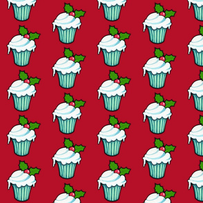 Christmas Holly Cupcake on Red