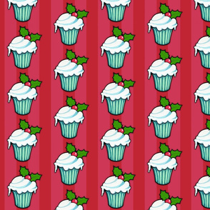 Christmas Holly Cupcake on Red Stripes