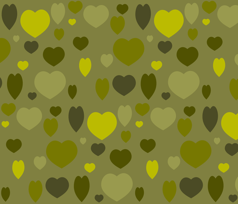 OLIVE HEARTS fabric by bluevelvet on Spoonflower - custom fabric