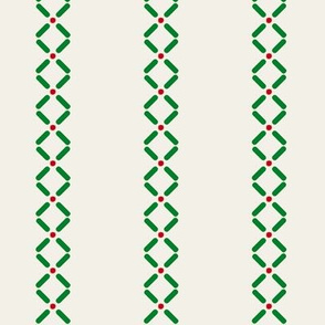 Cross Dot Stripe   -green and red on offwhite