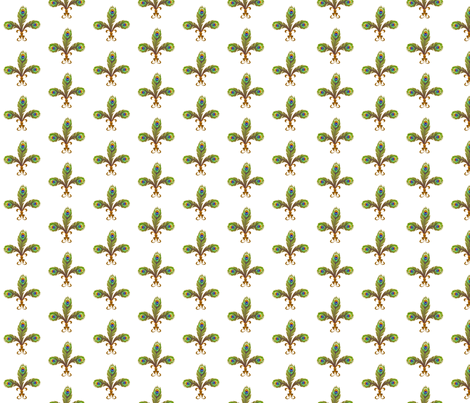 peacock_fleurdeli2_white fabric by glimmericks on Spoonflower - custom fabric