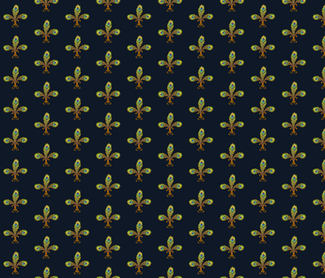 peacock fleurdelis navy fabric by glimmericks on Spoonflower - custom fabric