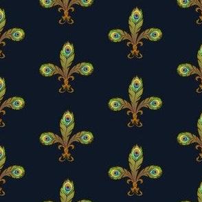peacock fleur de lis navy