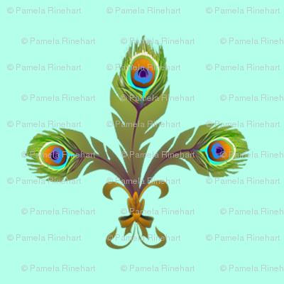 peacock fleurdelis turquoise
