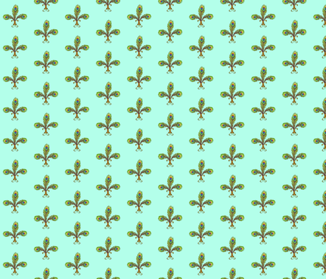 peacock fleurdelis turquoise fabric by glimmericks on Spoonflower - custom fabric
