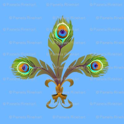 peacock fleurdelis sky