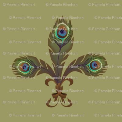 peacock fleurdelis sage