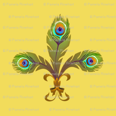 peacock fleurdelis lemon chiffon