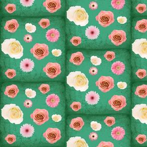 teal floral