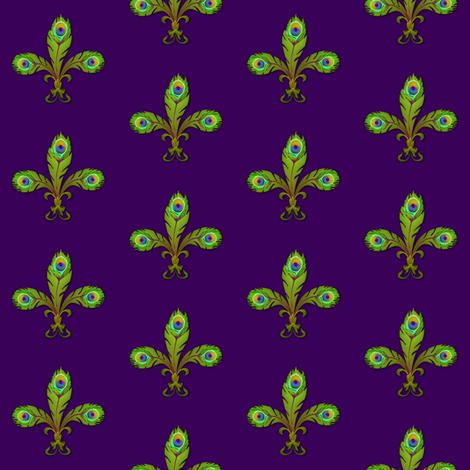 peacock fleurdelis mardigras fabric by glimmericks on Spoonflower - custom fabric