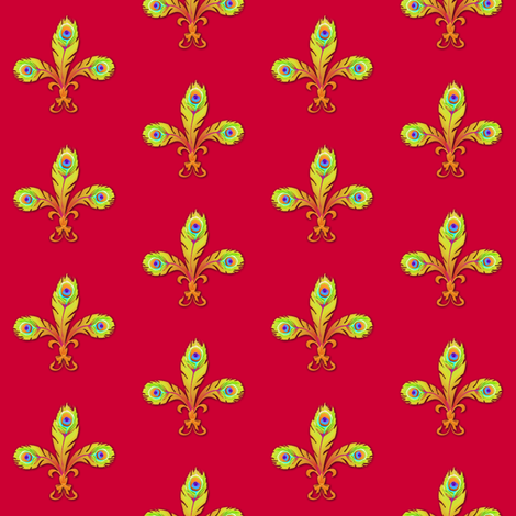 peacock fleurdelis ruby and gold fabric by glimmericks on Spoonflower - custom fabric