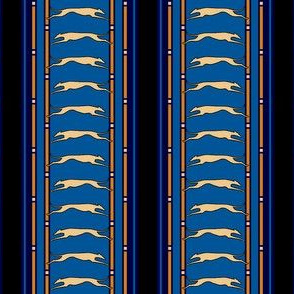 Running Greyhound Stripe tan blue © 2012 by Jane Walker