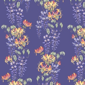 Wisteria & Honeysuckle - on blue/purple