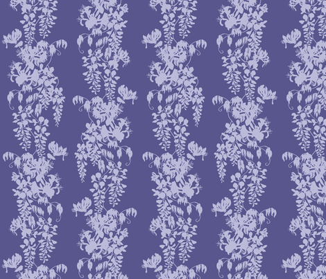 Wisteria & Honeysuckle Silhouette - purple/blue on dark fabric by gail_mcneillie on Spoonflower - custom fabric