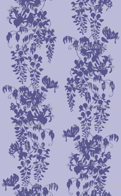 Wisteria & Honeysuckle Silhouette - purple/blue on pale