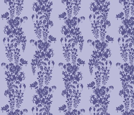 Wisteria & Honeysuckle Silhouette - purple/blue on pale fabric by gail_mcneillie on Spoonflower - custom fabric