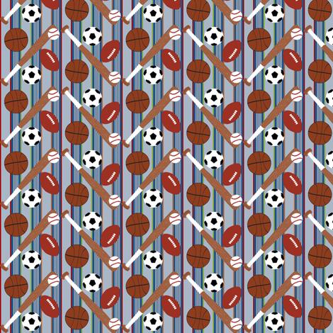 Sports Balls Light Blue Stripe fabric by cksstudio80 on Spoonflower - custom fabric